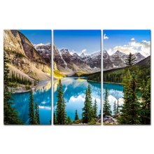HD print 3 panel Flowery Green Snow Mountain Lakes Mountains Canvas Print Painting Wall Art