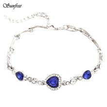 Sunfree 2016 New Hot Sale Unique Design Women Ocean Blue Crystal Rhinestone Heart Bangle Bracelet Fine anklets Oct 27