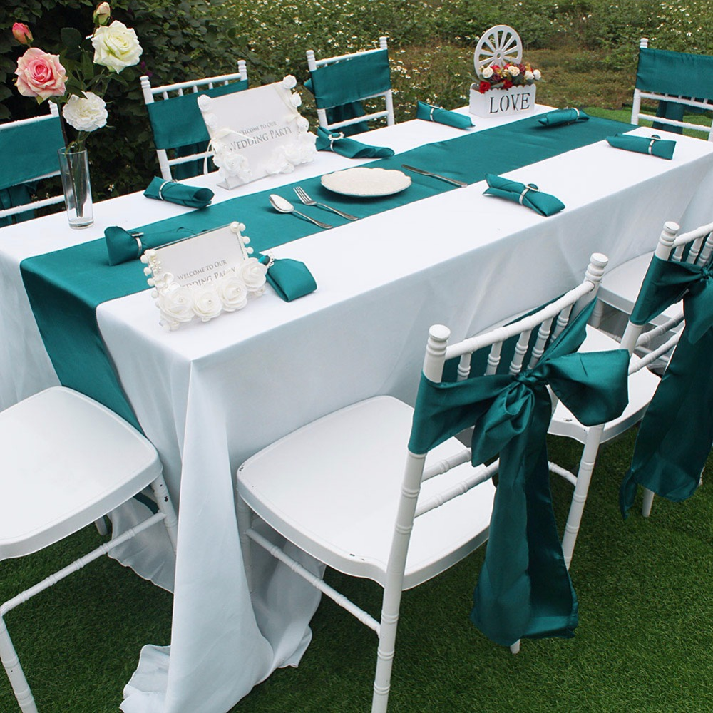 OurWarm Colored Fabric Satin Table Runner Chair Sashes Napkins Tableware For Home Banquet Dinner Wedding Party Table Decoration