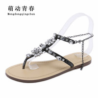 2018 Woman Sandals Women Shoes Rhinestones Chains Thong Gladiator Crystal Flat Heels Sandals Five Color Plus Size 46 1