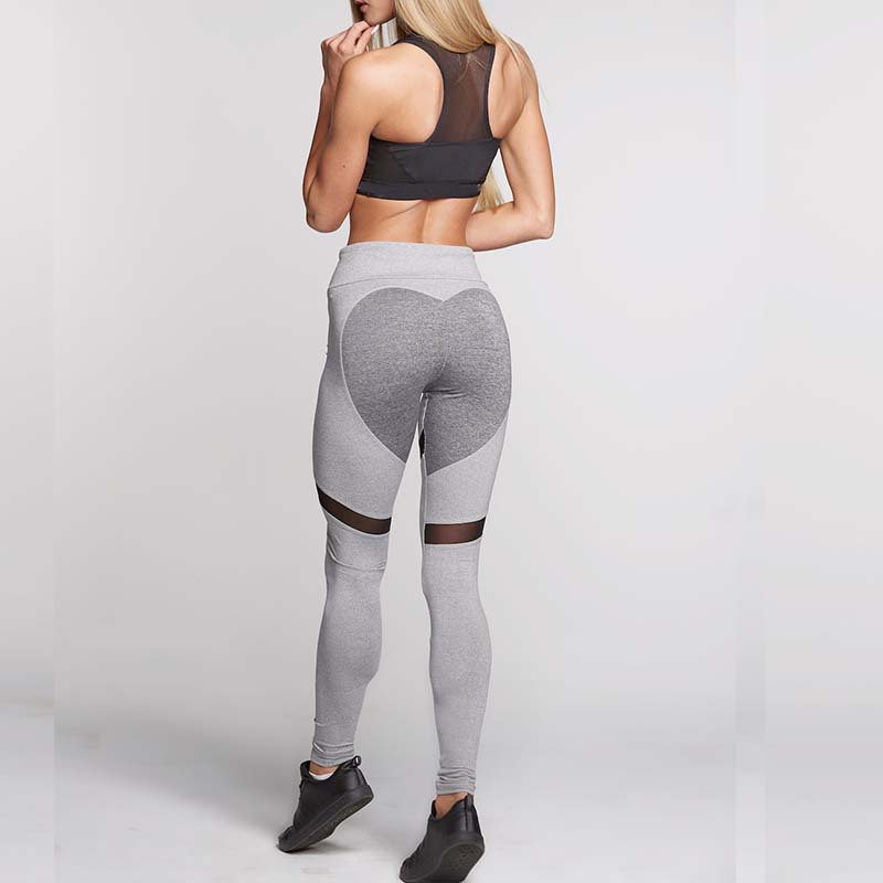 S QVSIA 2017 High Quality Black Heart Sporting Leggings Women Fitness White Black Patchwork Sportwear Heartmesh
