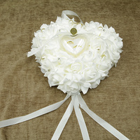 Free Shipping New Elegant Rose Wedding Favors Heart Design Gift Ring Box Pillow Cushion With Ties