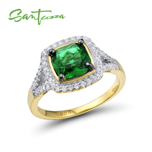 SANTUZZA Silver Ring For Women 925 Sterling Silver Fashion Gold Color Rings for Women Cubic Zirconia Ringen Party Jewelry cheap 925 Sterling CN(Origin) GDTC Fine Prong Setting Silver Rings R301120GRGZSZ925 ROUND TRENDY Wedding Bands Gold rings for women