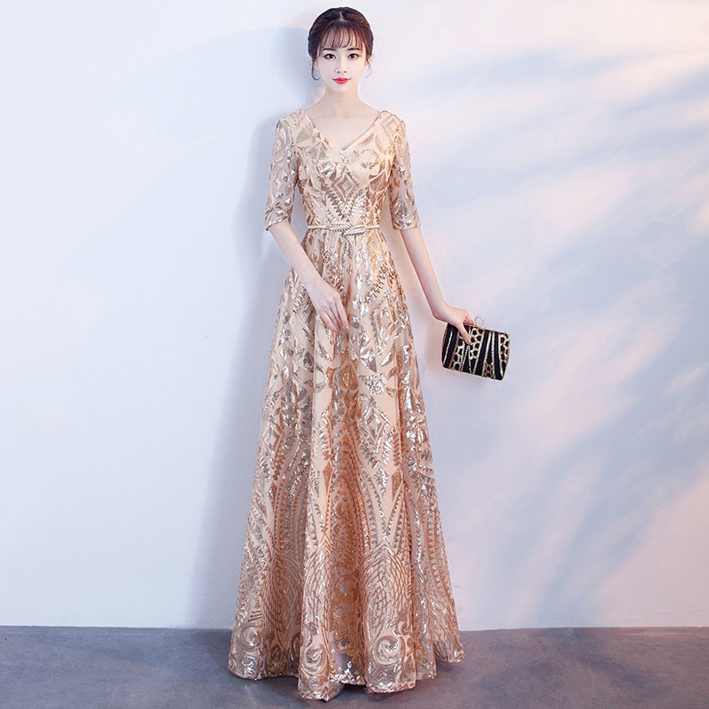 2b74a0ec6cd8f US $51.09 30% OFF|Aswomoye 2018 Spring New Stylish Elegant Long Evening  Dress V Neck Party Dresses Sequins A Line Formal Prom Dress robe de  soiree-in ...