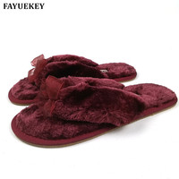 Hot Selling Winter Soft Sole Home Bowknot Cotton Plush Slippers Women Indoor Floor Warm Slippers Flat