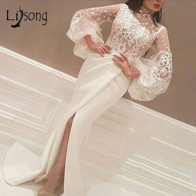Saudi Arabic Lace Mermaid   Evening     Dresses   Puff Full Sleeves Muslim High Collar Appliques Prom Gowns Sexy Side Split Party   Dress