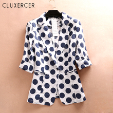 Summer Women Blazers And Jackets Casual Linen Polka Dot  3/4 Sleeve office Blazer Korea Style Print Plus Size Ladies