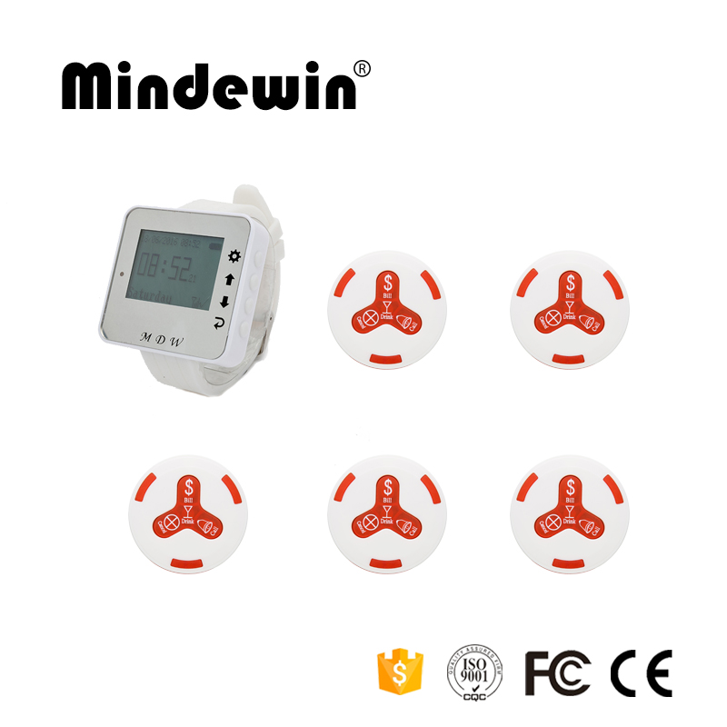 Mindewin New Design 1pc M-W-1 Watch Pager Receiver +5pcs M-K-4 Calling Waiter Service Restaurant Wireless Pager Calling Systems wireless pager system 433 92mhz wireless restaurant table buzzer with monitor and watch receiver 3 display 42 call button