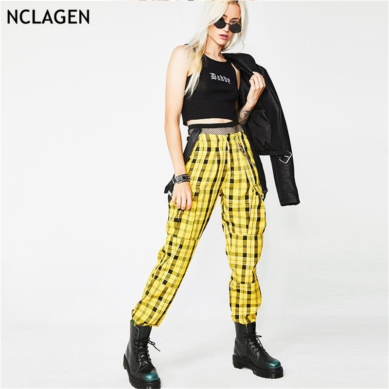 NCLAGEN 2018 Sexy Women Fashion Plaid Overalls Pockets Sweat Pants Suspenders Capris Streetwear Pantalons Mujer Cargo Pants