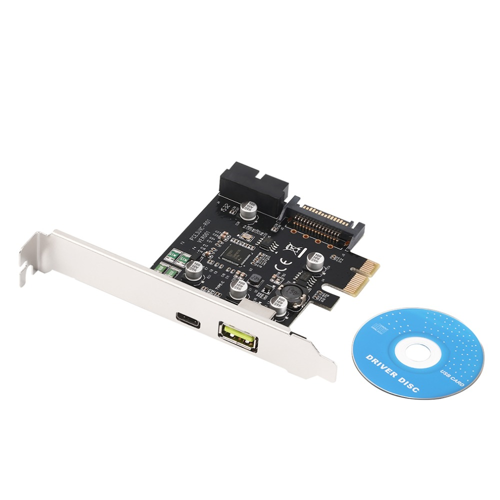 PCI-E 1x Express to USB 3.1 Type C Dual Port Expansion Card Adapter for PC Computer + Driver CD