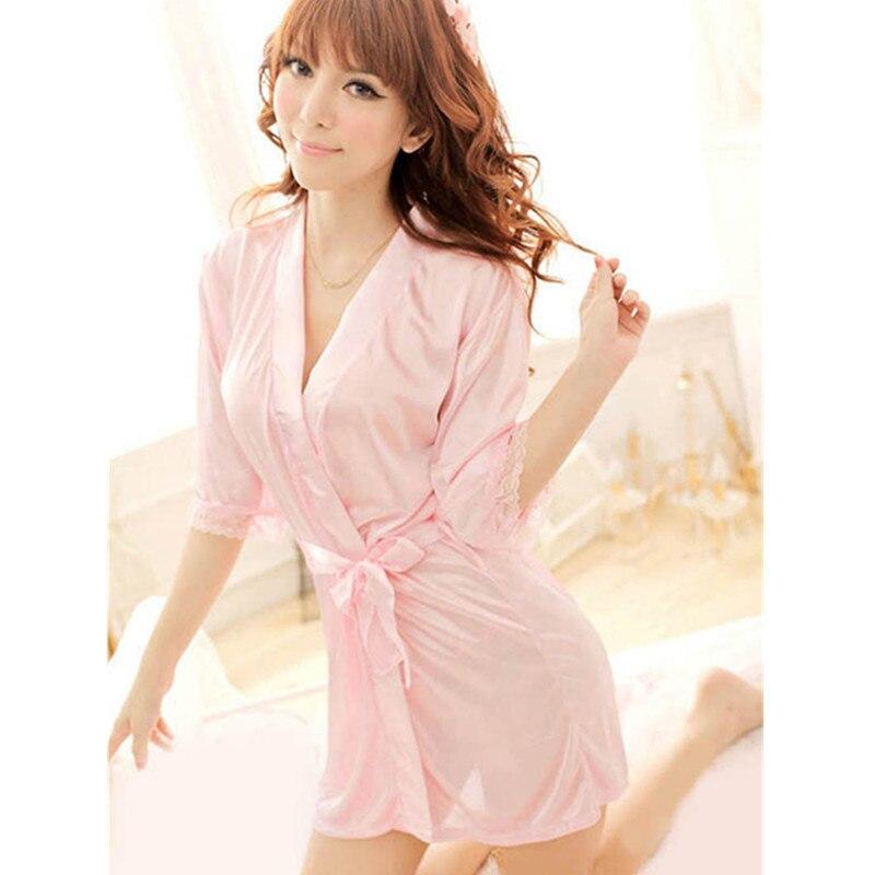 2019 Women Silk Robes Half Sleeve Sexy Summer Short Lingerie Bathrobe See Through Kimono Lace Peignoir Bridal Party Night Robe in Robes from Underwear Sleepwears