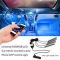 Venta caliente 5050RGB LED Interior Del Coche Atmósfera Lámpara de La Decoración Del Teléfono Vehículo LLEVÓ la Luz de Tira de Control APP Para IOS Para Android