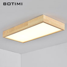 BOTIMI Modern LED Ceiling Lights Wooden Square Ceiling Lamp With Dimming Remote Control For Living Room Dining Room Light Wood Bedroom Lamps