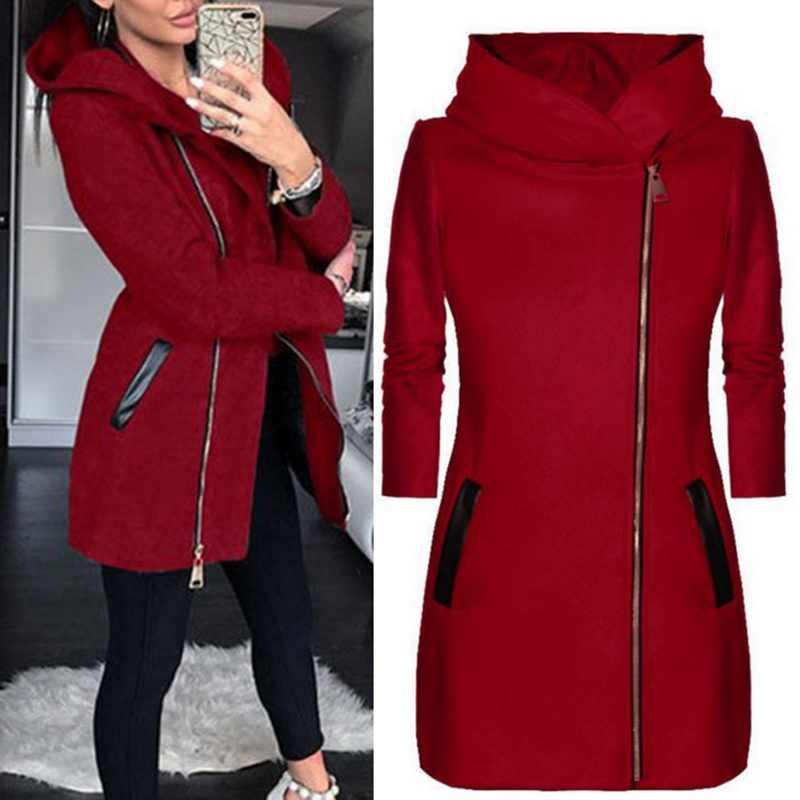 Laamei 2019 Весенняя женская куртка с высоким воротником и капюшоном на молнии, пальто с длинным рукавом, приталенная женская верхняя одежда, пальто, Повседневная Толстовка с капюшоном