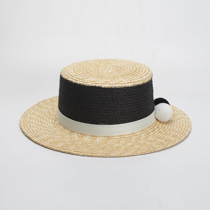 31cdad8f ROSELUOSI Women Flat Top Boater Hats Fashion Summer Straw Hats With Fur Pom  Poms Female Beach Hat Panama Sombreros Mujer Verano-in Sun Hats from  Apparel ...