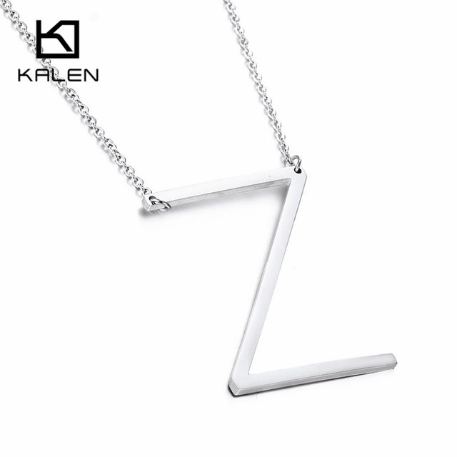 Letter Z Necklace ALP Kalen Cheap Silver Color Capital Letter Z Pendant Necklaces For Women  Stainless Steel Alphabet Letter Necklace Jewelry For Girls