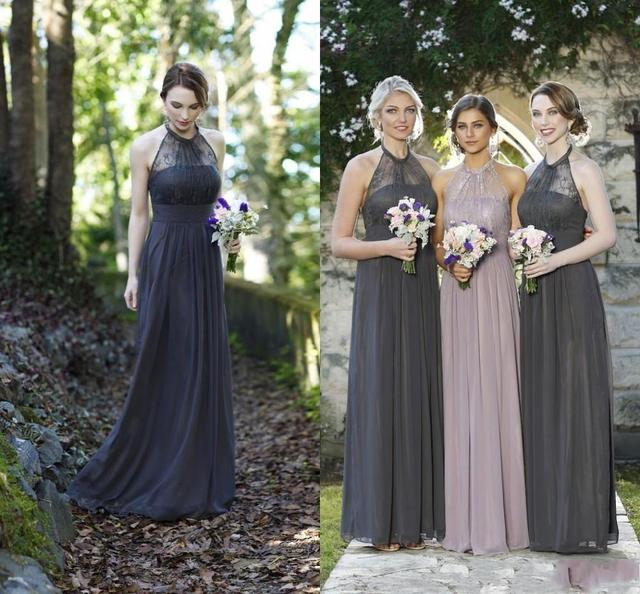 ec8ebe01514 2016 Cheap Grey Pink Navy Blue Lace Bridesmaid Dresses Halter Chiffon Long  Formal Maid Of Honor Wedding Party Gowns BF3