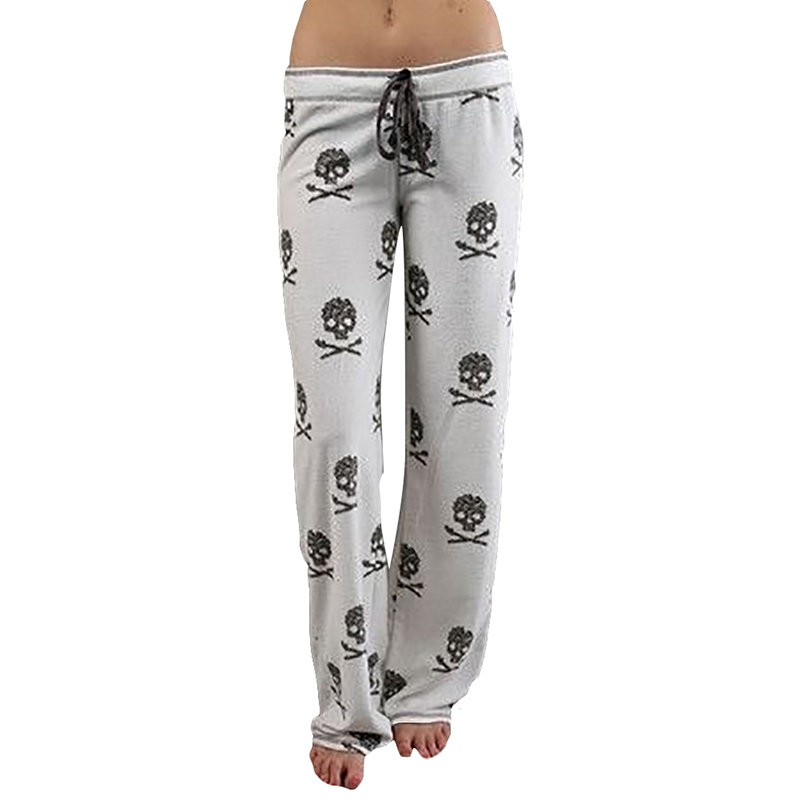 V-ogue Me L-ady Store FancyQube 2017 Women Pants Casual Low Waist Flare Wide Leg Long Pants Palazzo Trousers Skull Printed Pajama Pants At Home