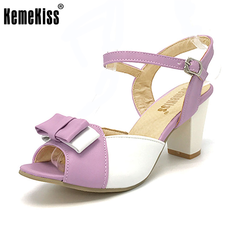 KemeKiss Size 32-47 Women High Heel Sandals Shoes Woman Mixed Color Peep Toe Bowknot Ladies Bow Women Dress Sweet Shoes PA00707 kemekiss size 33 42 women s high heel wedge shoes women cross strap platform pumps round toe casual mixed color ladies footwear