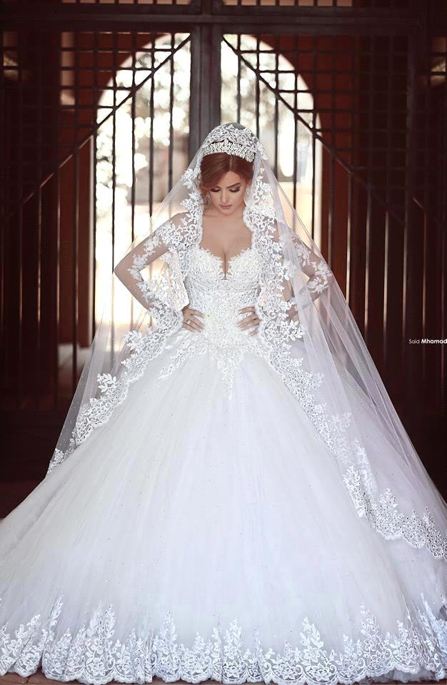 2019 Modern Arabic A Line Wedding Dresses Said Mhamad Sweetheart Long Sleeves Lace Appliques Beads Long