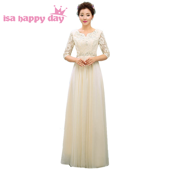 Sleeved Long Formal New Arrival In Champagne Romantic Women A Line