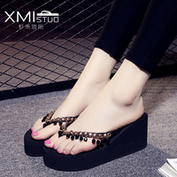 Summer Slippers With Beads Pendant PU Female High Heeled Slippers Woman Flops Thick Soled Gril String