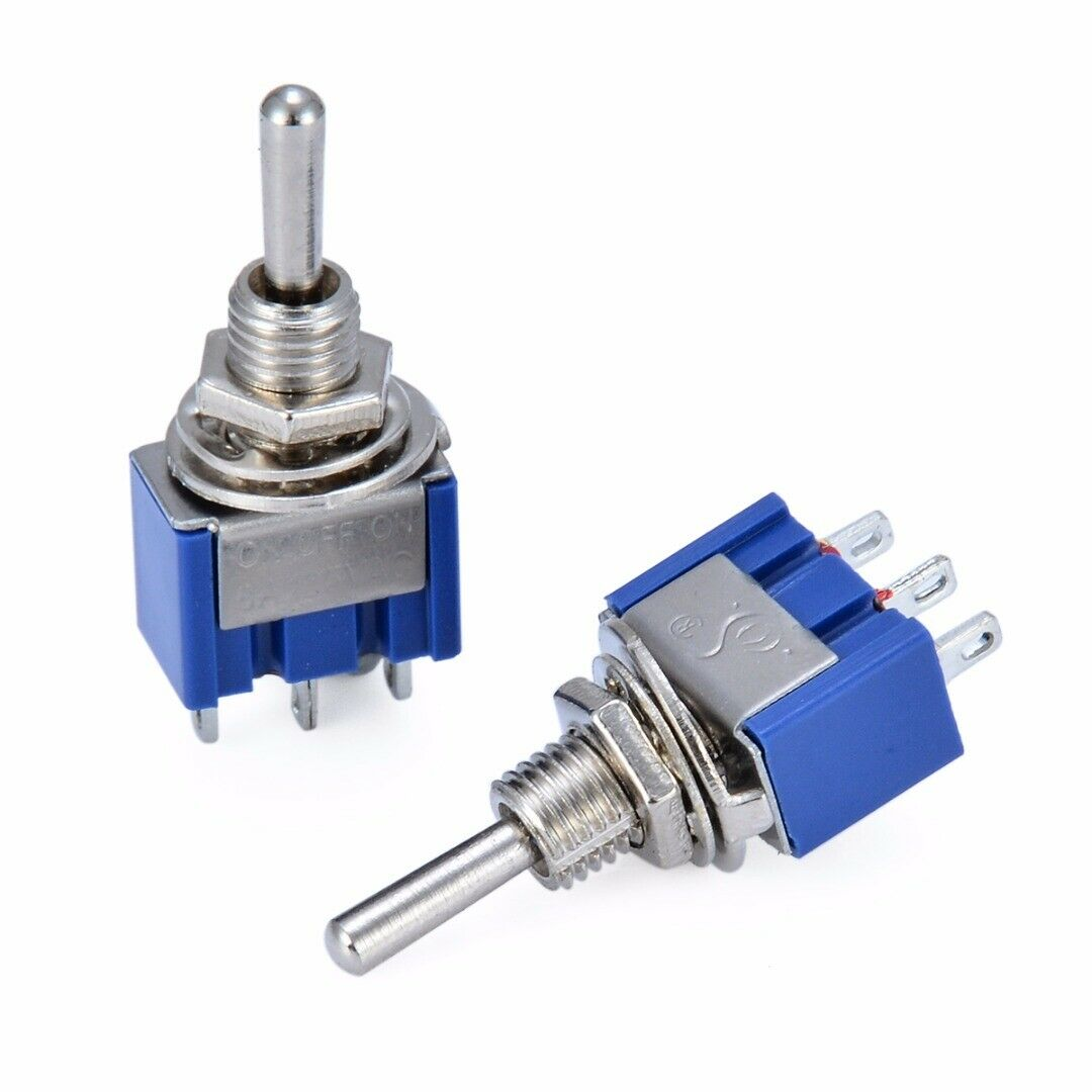 MTS-103 10Pcs Miniature Control Toggle Switch Single Pole Double Throw SPDT ON-OFF-ON 120VAC 6A 6mm Mounting Hole