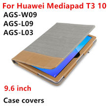 HUWEI Case For Huawei MediaPad T3 10 Protective Smart Cover Leather T310 Tablet PC Case AGS-W09 L09 L03 PU Protector Covers 9.6″