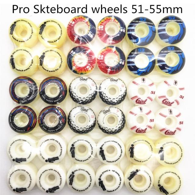 Conjunto de 4 ruedas PRO de EE. UU. De PU de alta densidad, color blanco puro, ruedas de patín de 52mm, ruedas de patín para Kaykay Paten