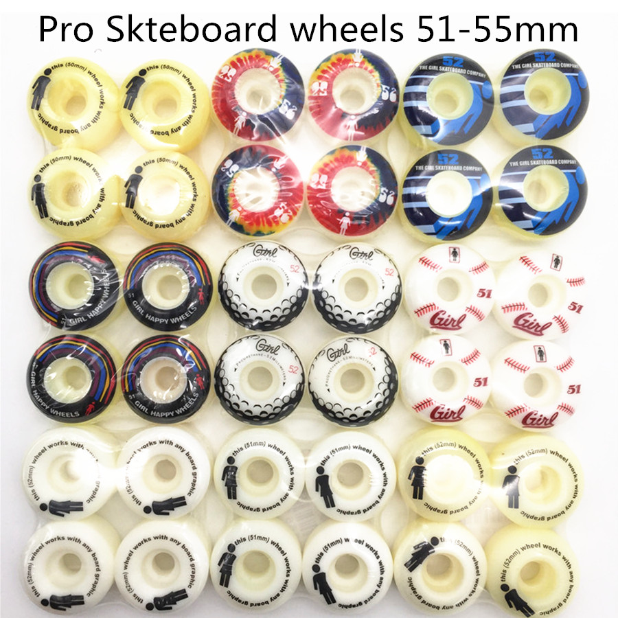 USA BRAND PRO 4PCS/SET PURE WHITE HIGH DENSITY PU Street Skateboard Wheels 52mm Skates Wheels Rodas For Kaykay Paten