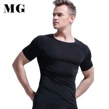 Mr.Gun 2017 Men Seamless T shirt Non Trace Bamboo Fiber Muscle Body Slim Fit Tees Summer Ice Silk Spandex T shirts Under Shirts
