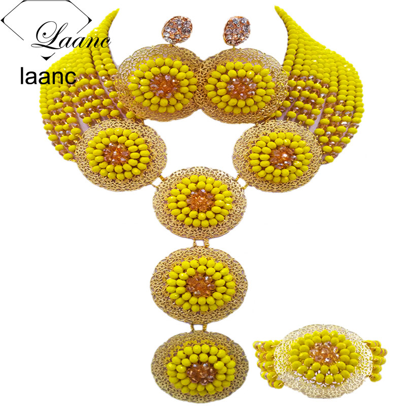 Laanc Yellow and Gold AB Crystal Costume African Wedding Jewelry Set for Women Nigerian Beads Necklace AL522Laanc Yellow and Gold AB Crystal Costume African Wedding Jewelry Set for Women Nigerian Beads Necklace AL522