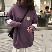 2 colors 2018 autumn and winter korean style cartoon egg turtleneck sweaters womens pullovers womens (F1346)
