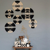 Creative Macrame Wall Hanging Cotton Woven Round Tapestry Combination Wall Tapestry Mandala Restaurant Headboard Boho Decor