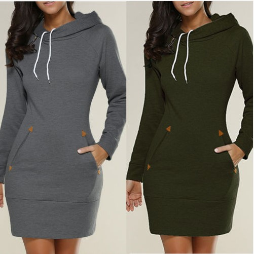 Women's Clothing 2019 Fashion Women Autumn Dress,thickening Warm Long Sleeve Winter Dress With Pockets,plus Size Women Winter Basic Dress 5xl 6xl