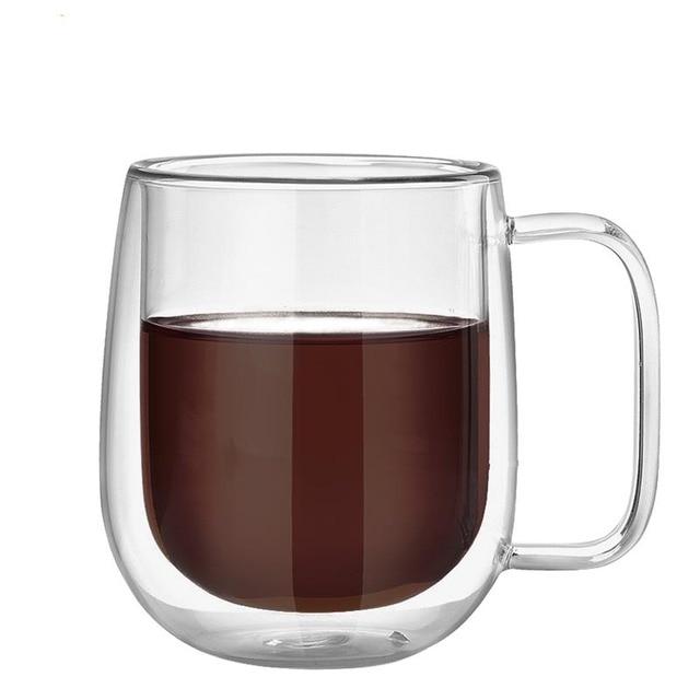 Simple Handmade Healthy Coffee Mugs Double Wall Glass Coffee Cups