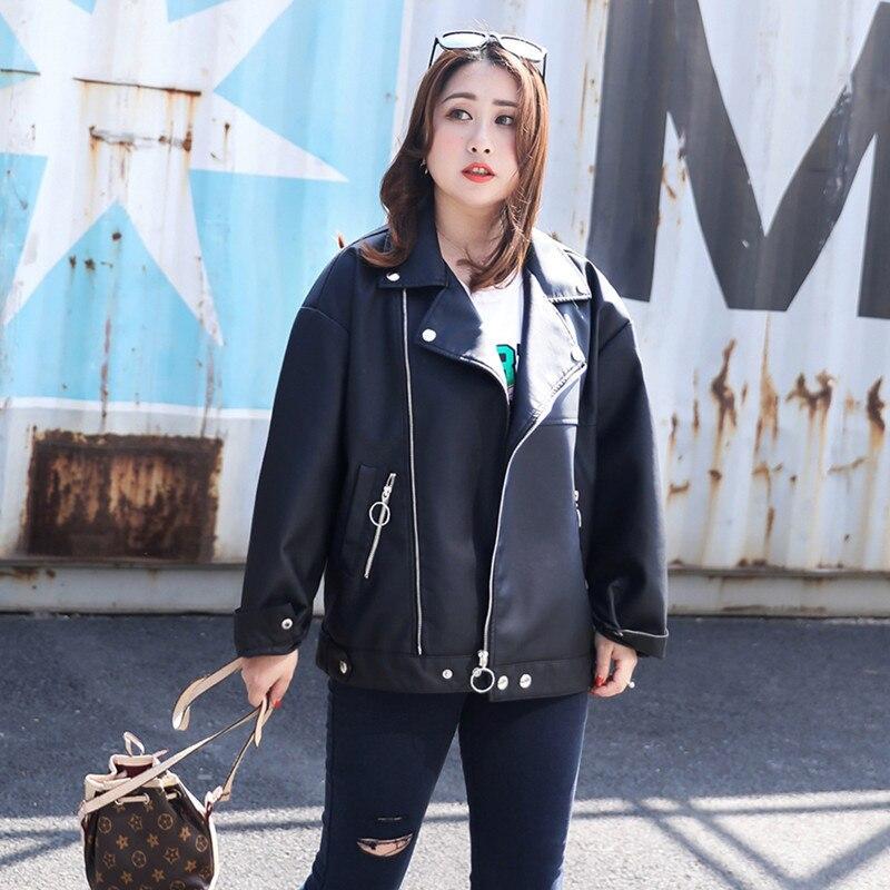 2018 Nouveau Coréenne Cuir Manches Black Moto Longues Automne Mode Et En À Veste Vêtements D186 Zipper Lâche Manteau Pu Printemps Femmes rrU6wd