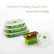 Silikone Collapsible Lunch Box Silikone Mad Opbevaring Beholdere Mikrobølgeovn Øko-Friendly Safe Bento Folding Lunchbox Lonchera Box