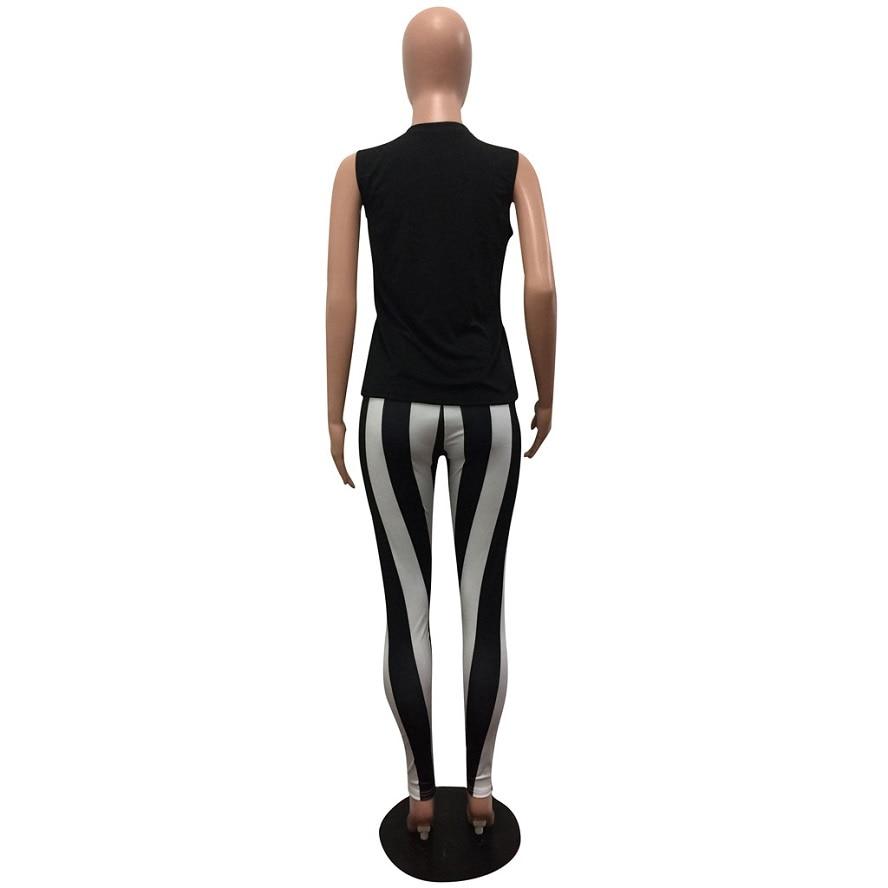 Pant Set For Women Striped Pants Long Letter Print Tops Sleeveless Skinny Pants 2018 Summer Trousers Tracksuit Women Workwear