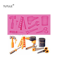 Gadgets-DIY Hardware Tools SILICONE MOLD Includes Paint Ladder Hammer Saw Drill Scissors Screwdriver & More Food Grade mold