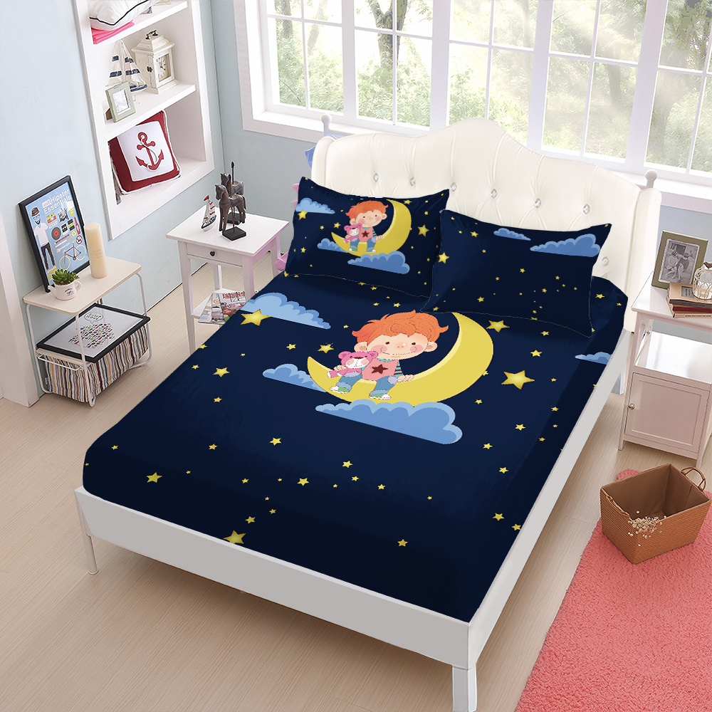 Dark Blue Moon Star Night Bed Sheets Kids Cartoon Fitted Sheet Little Prince Toy Bear Print Linens King Queen Pillowcase D25