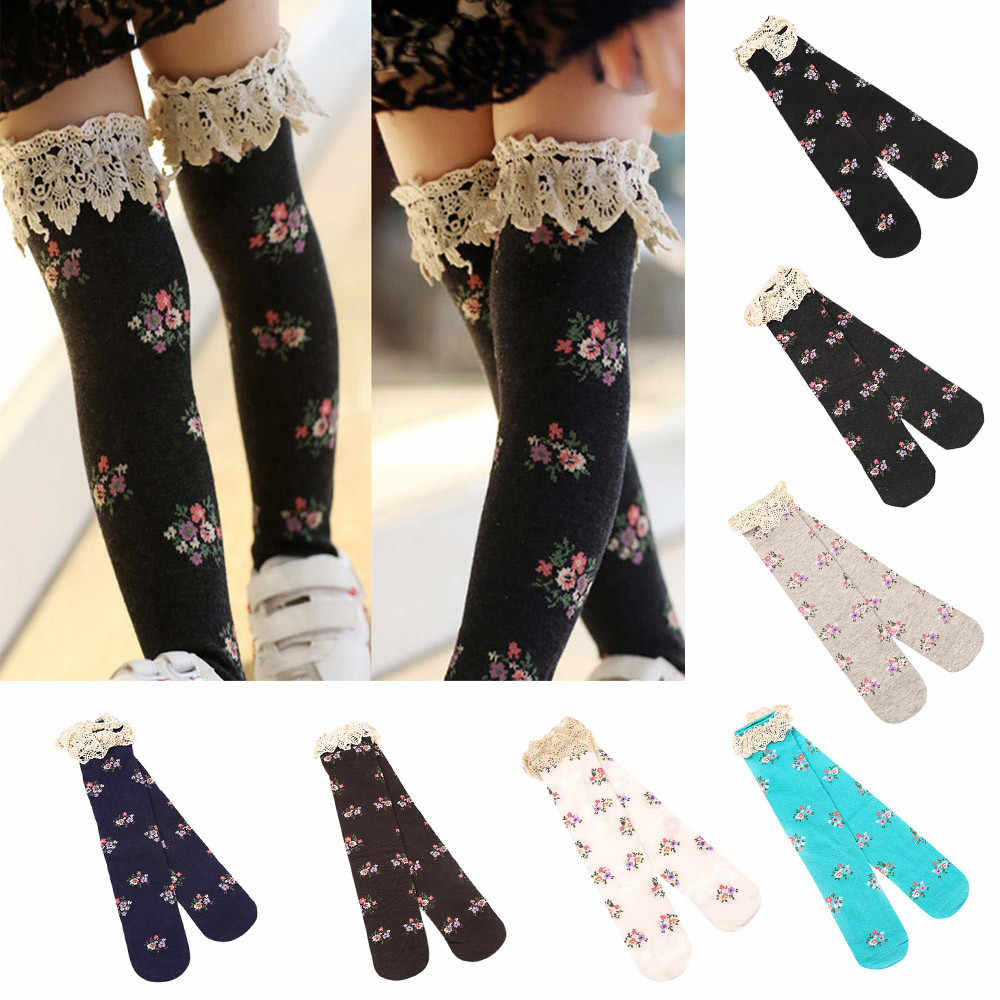 d04a9800d Kid s Girl s Baby Princess Lace Floral Boot Socks Winter Knee High Warm Socks  Children Baby Cheap