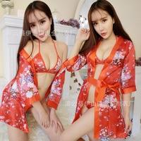 Kırmızı renk düğün Nedime Gelin Kesilen Kimono Bornoz Kadın Yaz Kısa Saten Pijama Havlu Bornoz Seksi Iç Çamaşırı Kumaş set