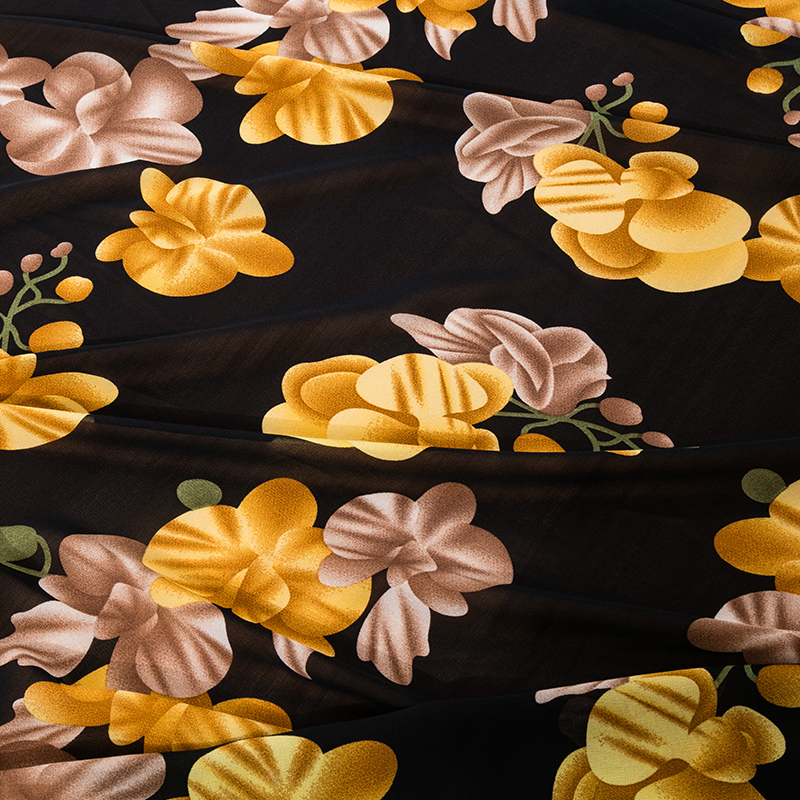 Hot Sale Floral Printed Chiffon Fabric For Dress And Broad-legged Pants For Foue Seasons  Can See Though 25x150cm