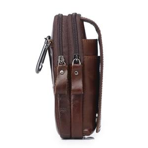 Image 2 - الرجال حقائب جلد طبيعي الخصر حزمة الكتف حقائب كروسبودي CrossbMessenger حقيبة الرجال حقائب كتف الهاتف الحقيبة الذكور zzنيك