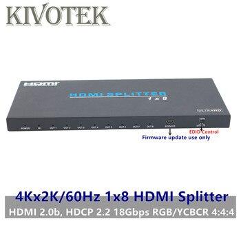 1x8 HDMI2.0b Splitter Adatper Split 4K/60Hz 3D HDR 1080P HDMI to 8 Female Connector EDID Control For DVD PS3 CCTV Free Shipping