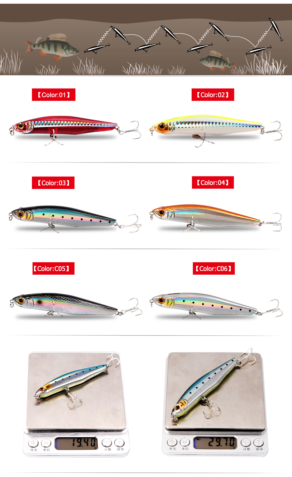 Kingdom Fishing Lures Hard Bait Slow Sinking Pencil 19.4g,85mm 29.7g,100mm Sea Bass China Artificial Lures Wobblers Model 5503 (7)