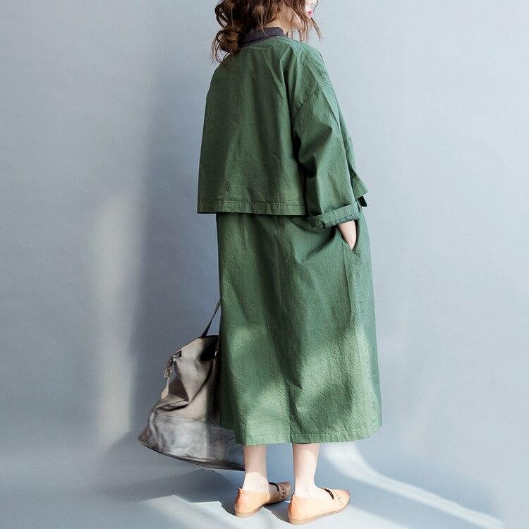 Tranchée Plus Hiver 2018 vent De Pardessus Manteau Automne Solide Vêtements Femmes Green Sze Poitrine Survêtement Coupe Et Unique Vert Lâche ERtRwc0Bxq