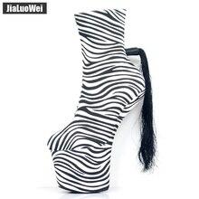 jialuowei Brand Designer Sexy Fetish Zebra Print 20CM Extreme High Heel Platform Women Fashion Charming Ankle Boots Size 36-46