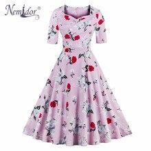 Nemidor 2017 летом элегантный половины рукав плюс размер swing dress casual печати площади шеи партия ретро dress